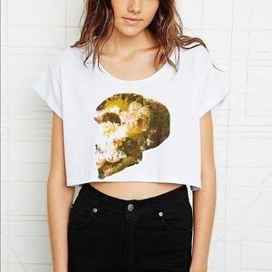 UO Floral Skull Cropped Tee
